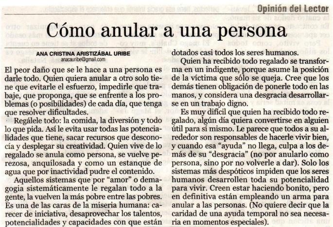 Como anular a una persona (Por Cristina Aristizabal)